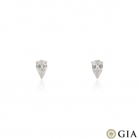 White Gold Pear Cut Diamond Earrings 2.38ct TDW